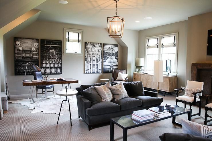 Family Room And Office Combo Transitional Living Room Living Room Office Combo Living Room Office Living Room Dining Room Combo