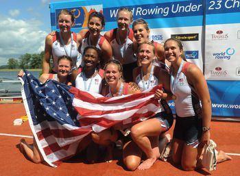USA Women's Eight Team takes the gold once again in the Women's Rowing Eight final at Eton Dorney. Silver went to Canada, bronze to the Netherlands.