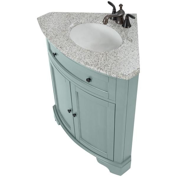 Home Decorators Collection Hamilton 31 In W Corner Bath Vanity In Sea Glass With Granite Vanity Top In Grey And White Sink 10809 Cs30h Sg The Home Depot Granite Vanity Tops Corner Vanity