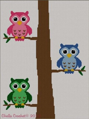Colorful Owls In Tree 2 Afghan Crochet Knit Cross Stitch Pattern