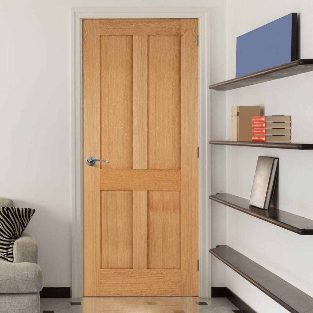 Bristol 4 Panel Shaker Oak Fire Door is 1/2 Hour Fire Rated | Fire ...