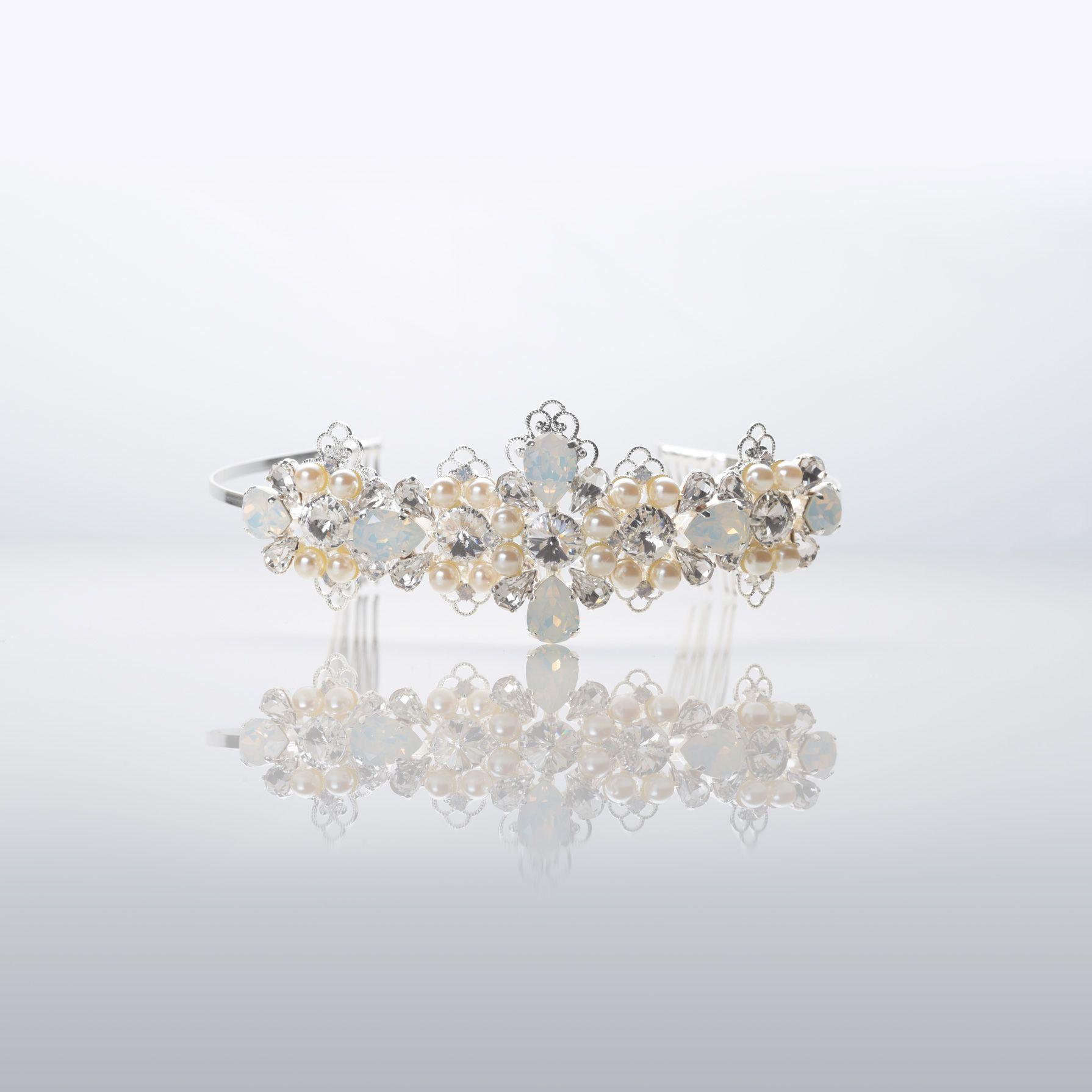 Elegant Jewel: NIBI18002SL // Coroncina Con Decorazioni Di Colore Argento,  Arricchita Da Preziose Perle