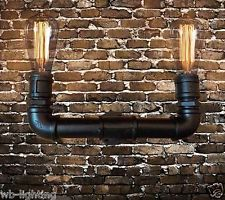 Black Industrial Steampunk Lamp Iron Pipe Wall Lamp Fixture Wall Light  LED Bulb