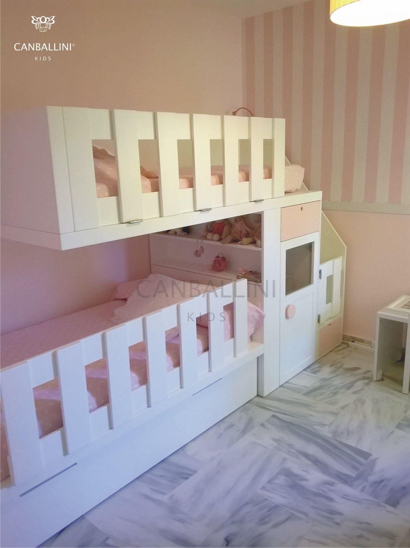 Litera tren en blanco y rosa para habitaci n infantil y - Habitaciones infantiles tren ...