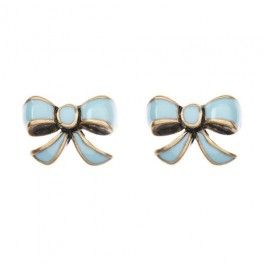 Cath Kidston Blue And Gold Bow Earrings