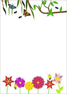 Summer Notepaper Word Doc Note Paper Borders For Paper Border Flower