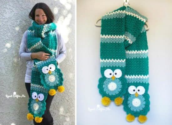 Crochet Owl Scarf Free Pattern And Video   Pinterest