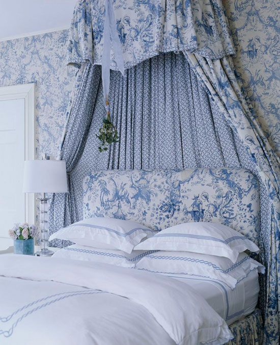Bedroom Decorating Ideas Totally Toile With Images Blue White