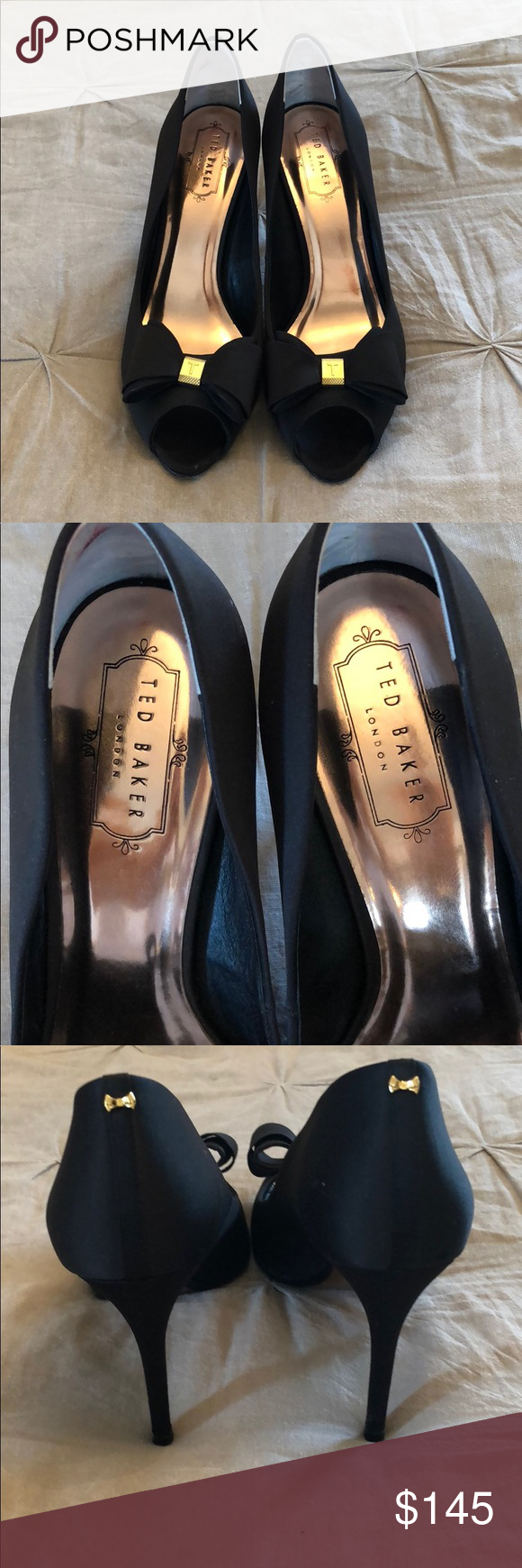 bd6b65121e0f81 Ted Baker peep toe pumps with bow Ted Baker black peep toe pumps with bow.  Worn once. Beautiful shoes! Ted Baker London Shoes Heels