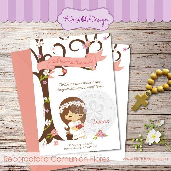 Estampita Comunión Flores Frases Comunion Invitaciones