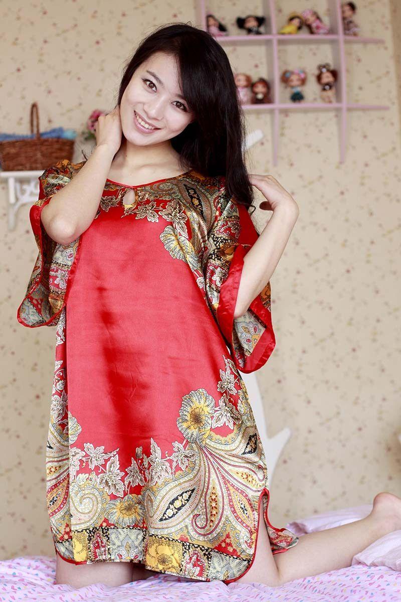 Summer Womens Silk Nightgowns Stain Short Sleeve Sleepwear Night ...
