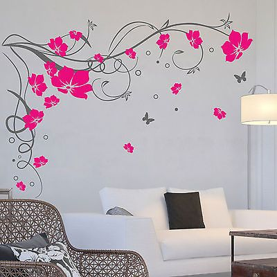 Details About Large Butterfly Vine Flower Wall Stickers Wall