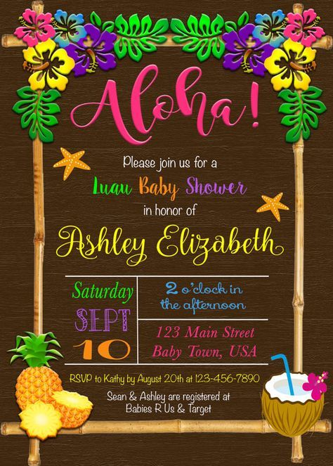 luau baby shower invitation  luau invitation  aloha baby