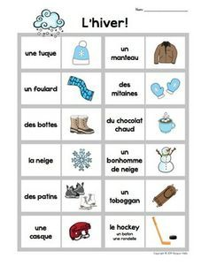 french vocabulary winter - Google Search | French for kids ...