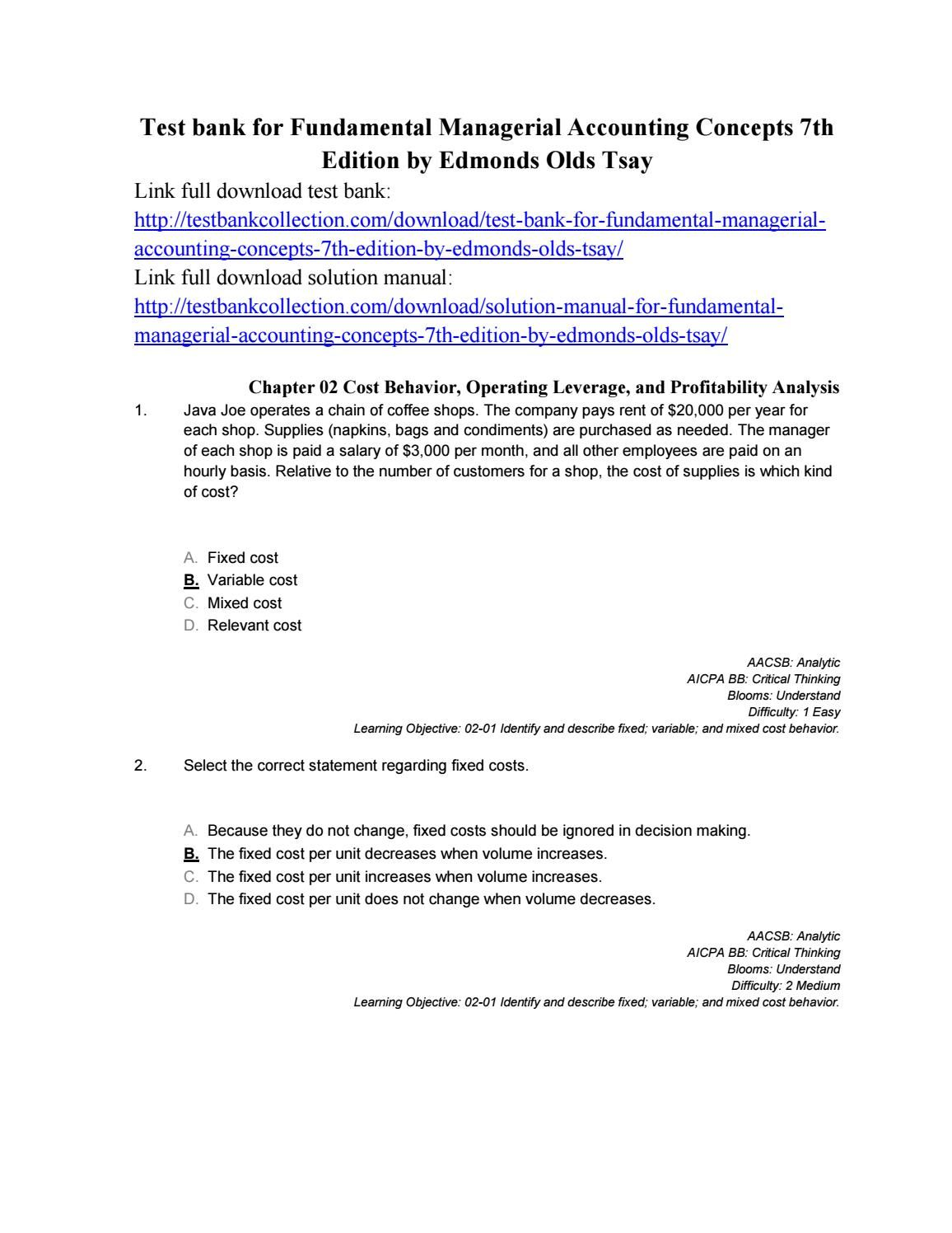 Download test bank for fundamental managerial accounting concepts ...