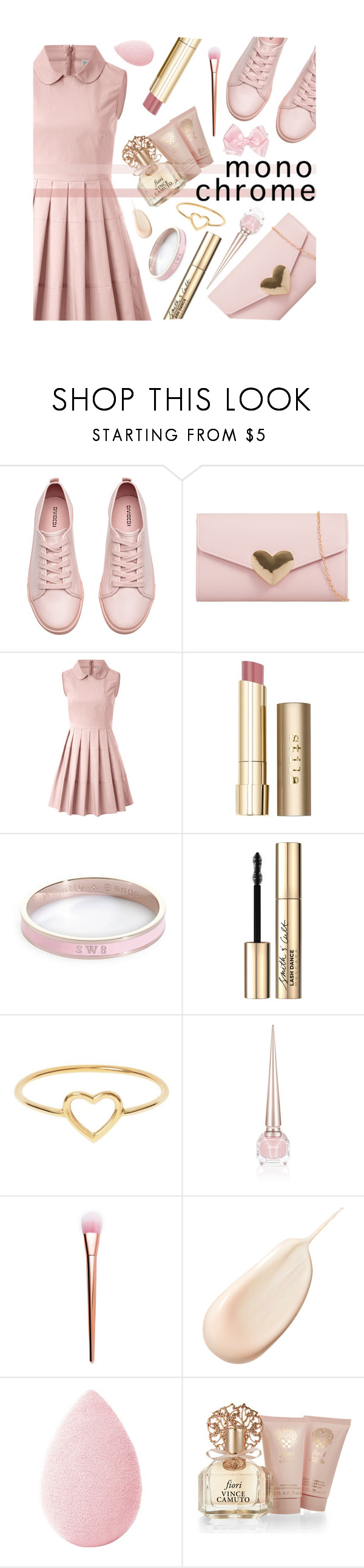 """Pink from Head to Toe (Contest Entry)"" by mormon-girl ❤ liked on Polyvore featuring H&M, RED Valentino, Stila, Whistle & Bango, Smith & Cult, Love Is, Christian Louboutin, Clé de Peau Beauté, beautyblender and Vince Camuto"