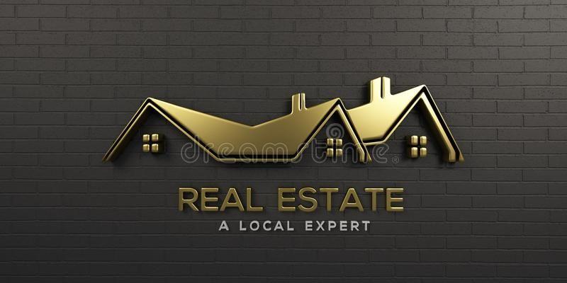 Real Estate Gold Logo Design 3d Rendering Illustration Apartment Architecture Building Business Construc Gold Logo Design House Logo Design Logo Real