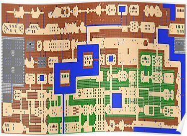 Legend Of Zelda Overworld Map Poster Zelda Map Legend