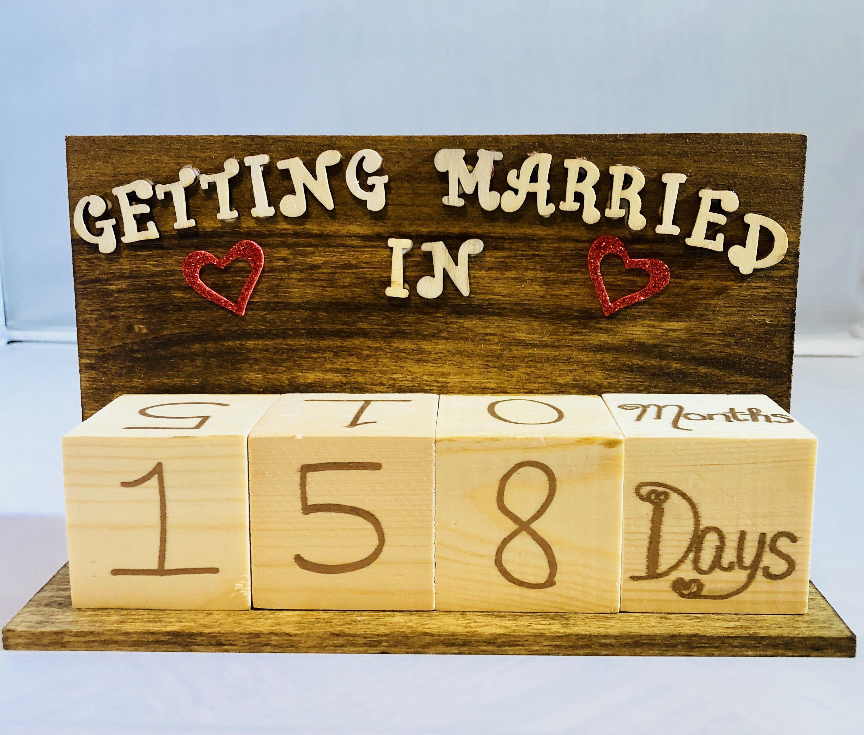 Wedding Countdown Calendar, Perpetual Calendar, Bride And