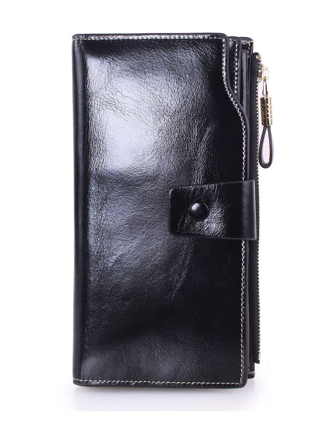 AdoreWe VIPme Wallets Melovo Womenus Genuine Leather Black Long