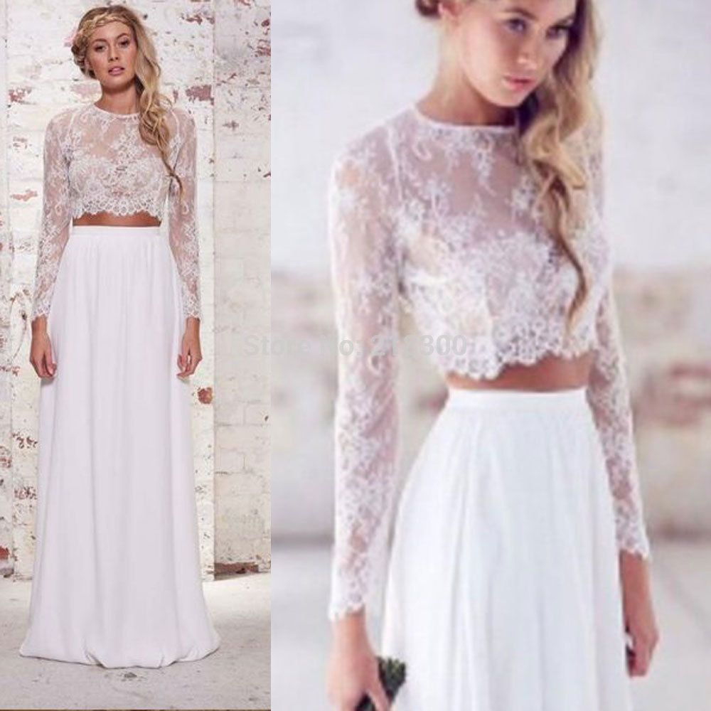 Online shop crop top boho wedding dresses pieces lace wedding