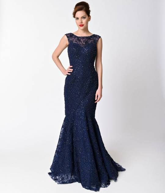Navy Beaded Cap Sleeve Sheer Illusion Gown For Prom 2017 | Clothes ...