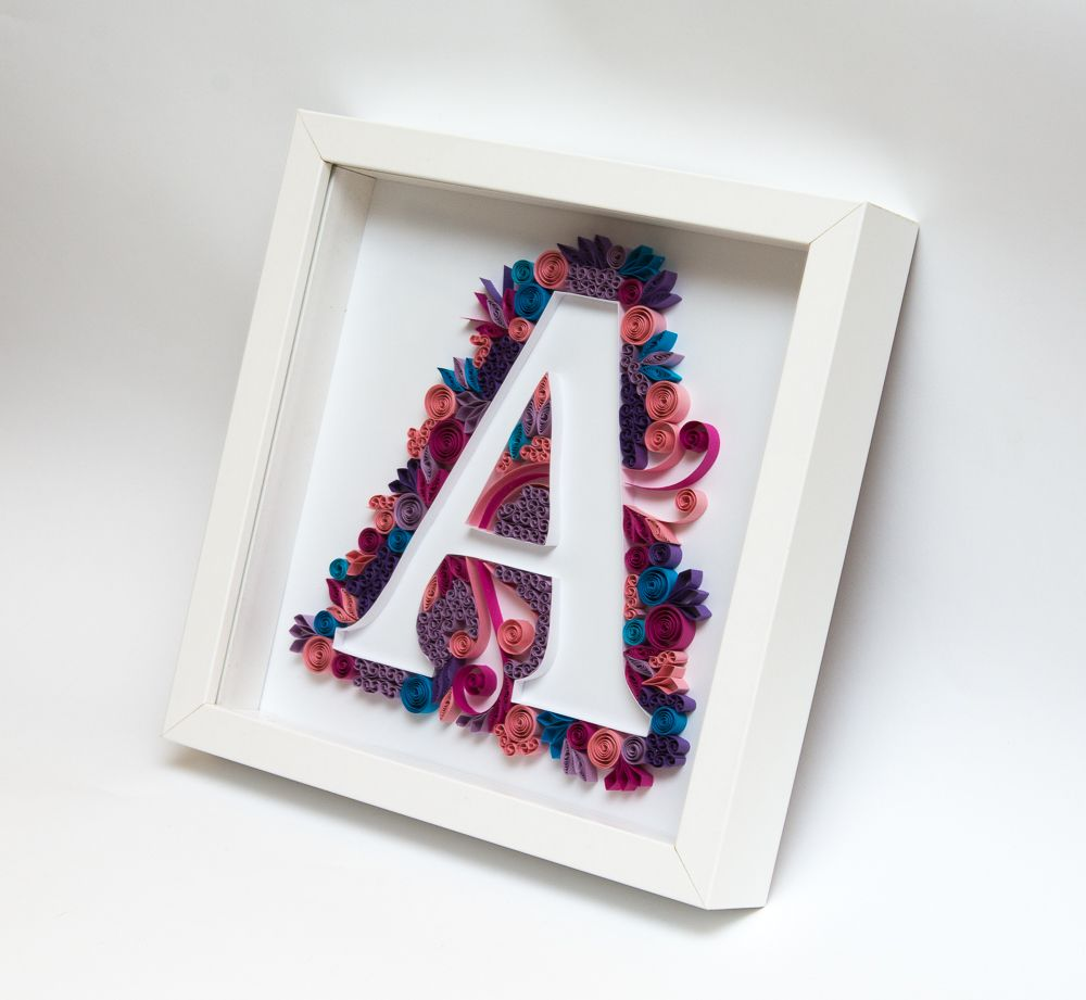 Quilling Art Quilled Monogram Letter A Initial Personalized Gift Handmade  Etsy Framed Wall Art Home Decor