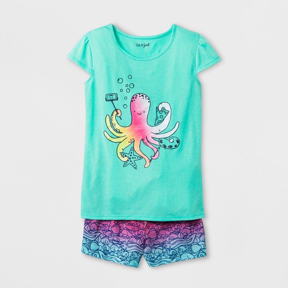 3dd16d941c2 Girls' Octopus Graphic Pajama Set - Cat & Jack Blue XL, Girl's ...