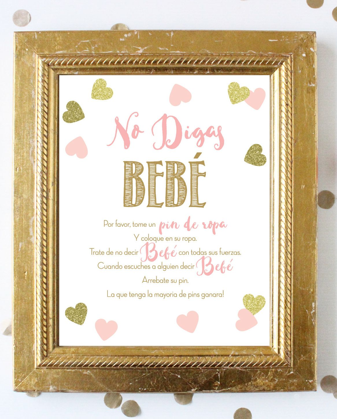Spanish Don T Say Baby 8x10 Printable Sign No Digas Bebe Etsy In 2021 Baby Shower Gifts For Guests Glitter Baby Shower Baby Shower Signs Printable