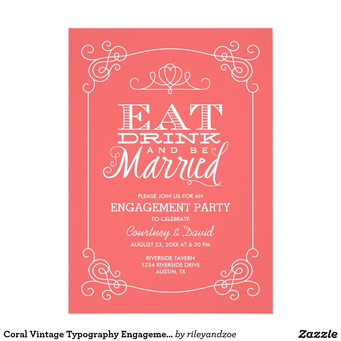 Coral Vintage Typography Engagement Party Card | Vintage typography ...