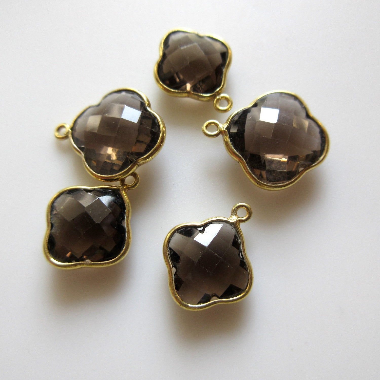 Natural Rosecut Diamond 925 Silver Smokey Quartz /& Crystal Quartz Earrings