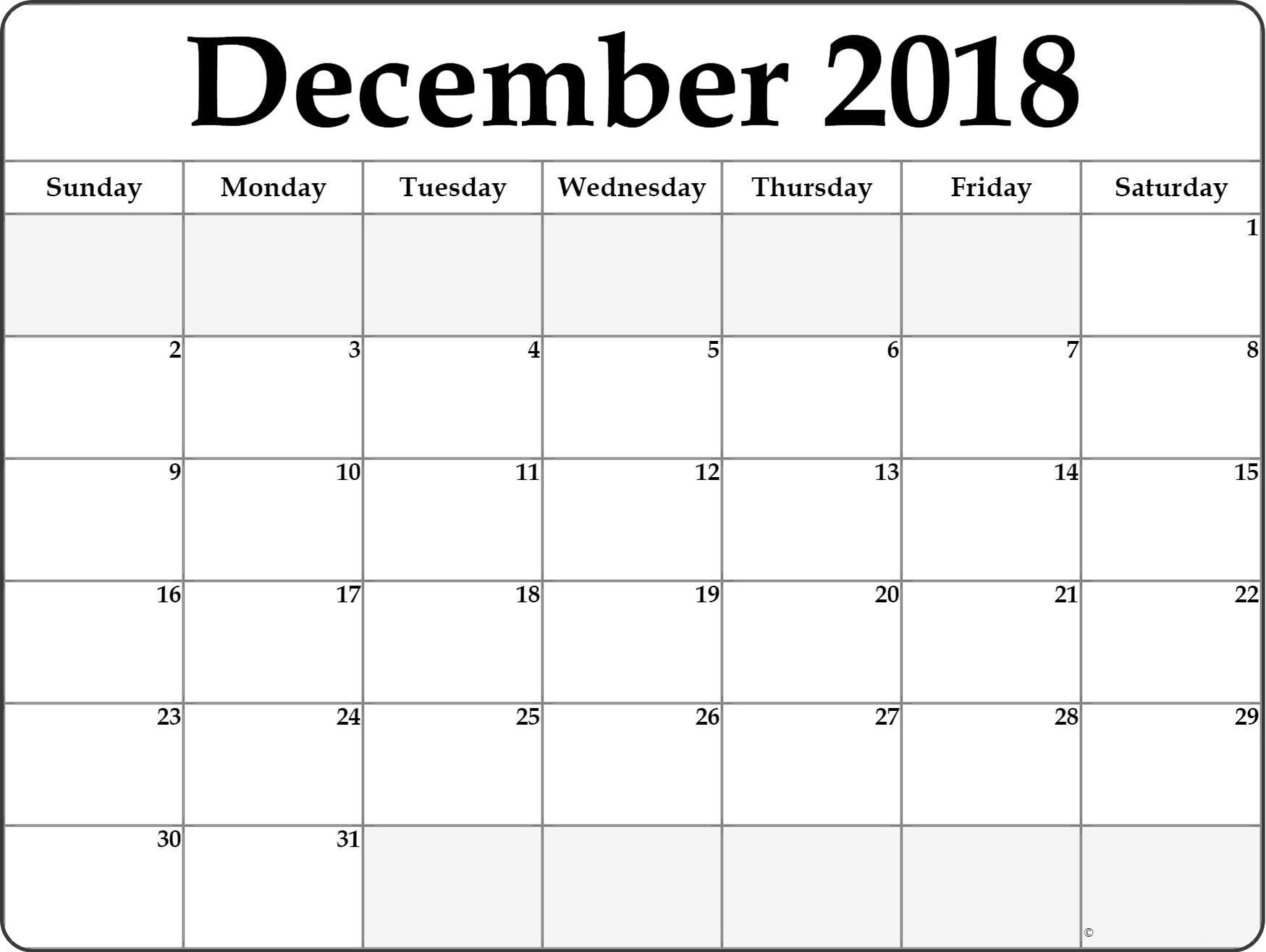 december 2018 calendar table design