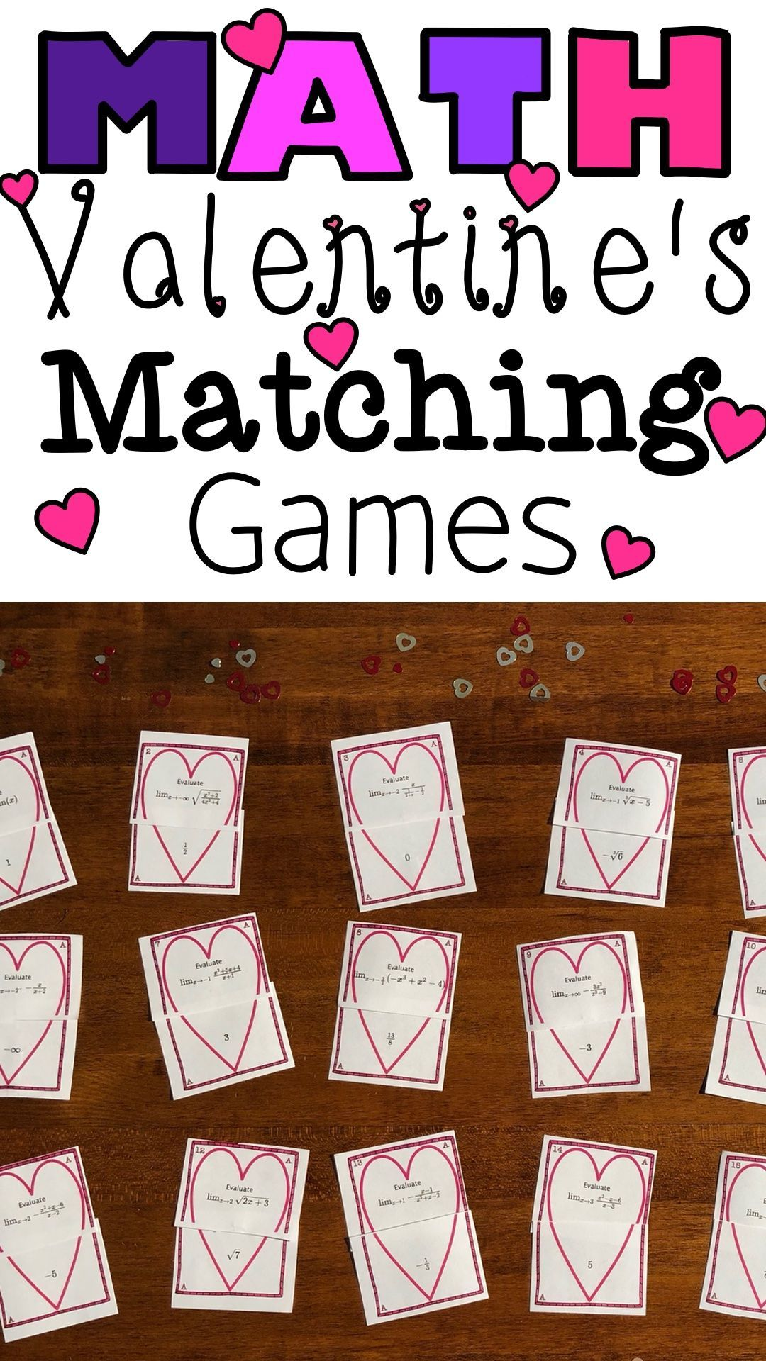 Math Matching Activities For Valentine S Day In
