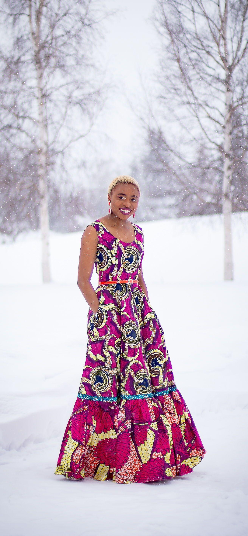 Romantic African Wax Print Maxi Dress #africandressstyles