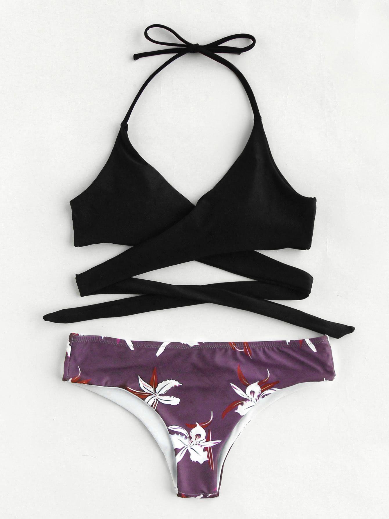 da8945cf9e Shop Flower Print Self Tie Wrap Bikini Set online. SheIn offers Flower  Print Self Tie Wrap Bikini Set & more to fit your fashionable needs.