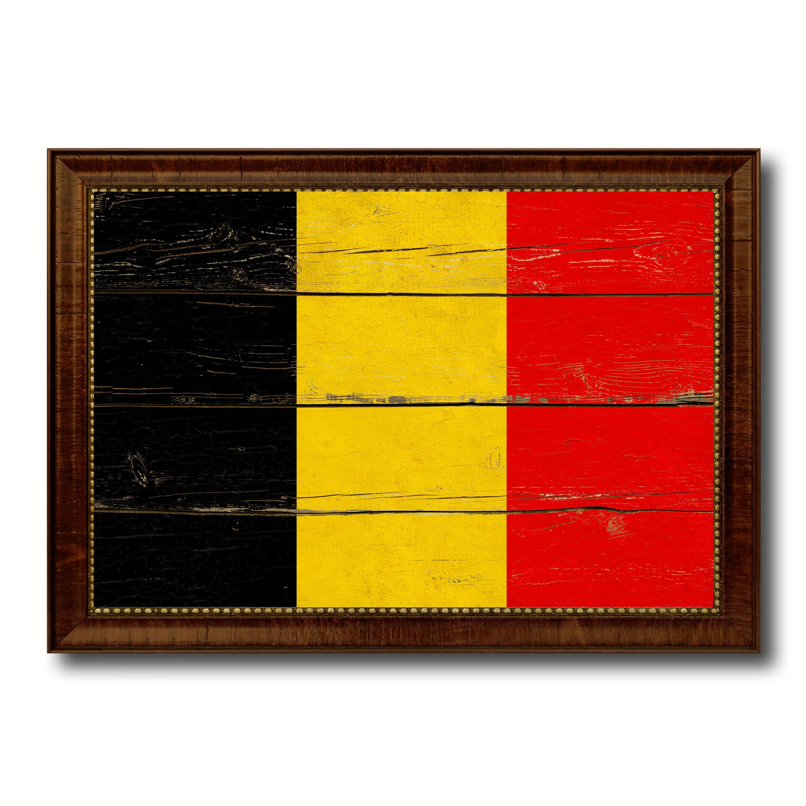 Belgium Country Flag Vintage Canvas Print with Brown Picture Frame ...