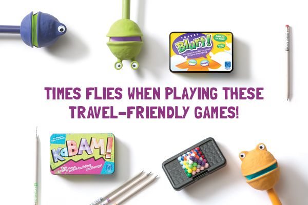 Yippie! Our top travel-helpers: KaBAM!™, Puppet-on-a-Stick™ (Lex, Kai, and Fez), Travel Blurt!®, and Kanoodle®. #educationalinsights #travelgames #travelhelpers
