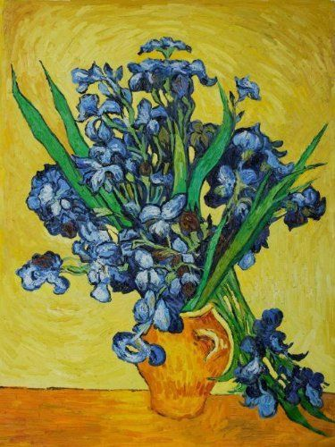 "Art Reproduction Oil Painting - Van Gogh Paintings: Irises in a Vase - Extra Large 36"" X 48"" - Hand Painted Canvas Art"
