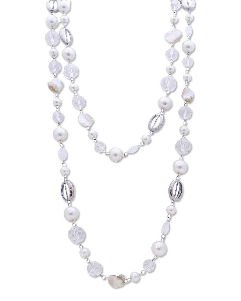 """24"""" Long Glass Beads Long Necklace - EEN0451-SILVER CREME"""