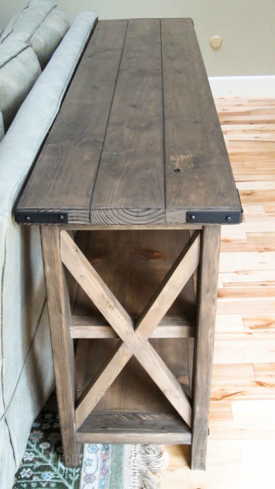 build a rustic sofa table cleaning down filled cushions how to oxidize new wood for more look livingston project profits love this x console want behind our couch think of all the books i could store on those lower shelves