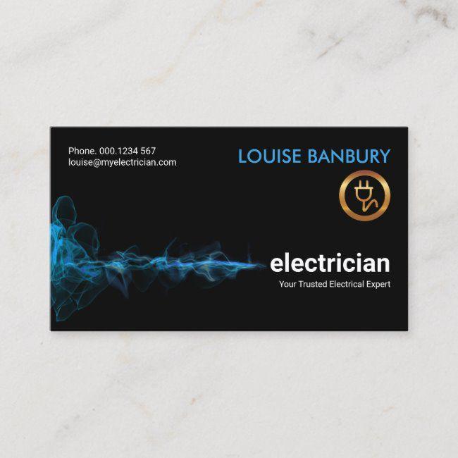 Striking Blue Electric Lightning Wave Electrician Business Card Zazzle Com Electrician Unique Business Cards Electrician Logo