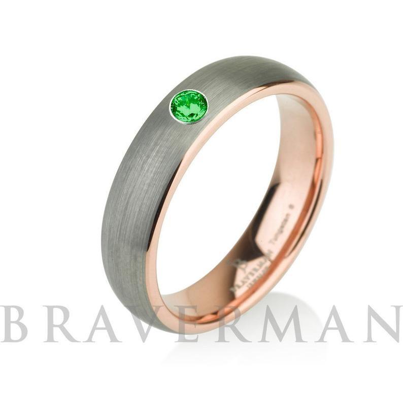 Emerald Rose Gold Mens Tungsten Carbide Wedding Band Ring 5mm Etsy Mens Wedding Bands Tungsten Carbide Tungsten Carbide Wedding Bands Mens Wedding Bands Tungsten