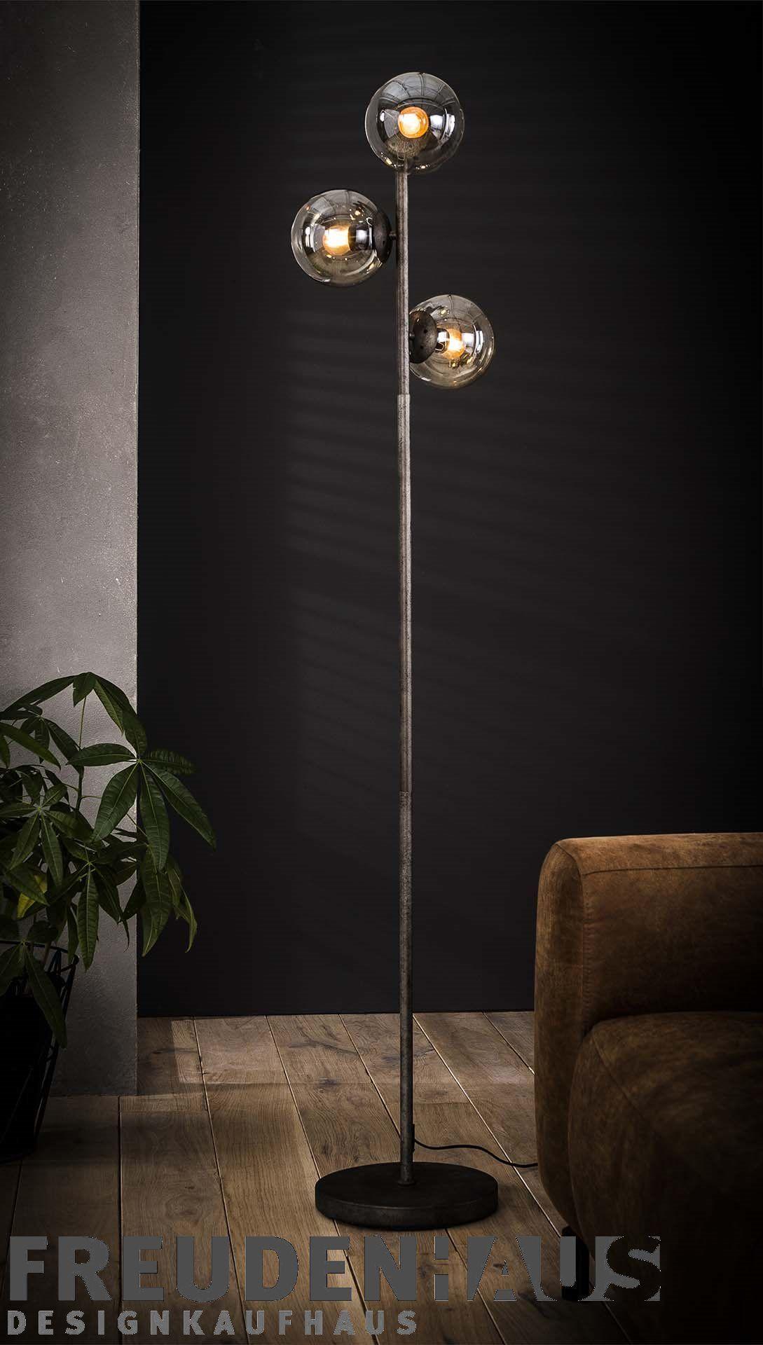 Stehlampe Industrial 3er Kugel Calotta Beleuchtung Stehlampen