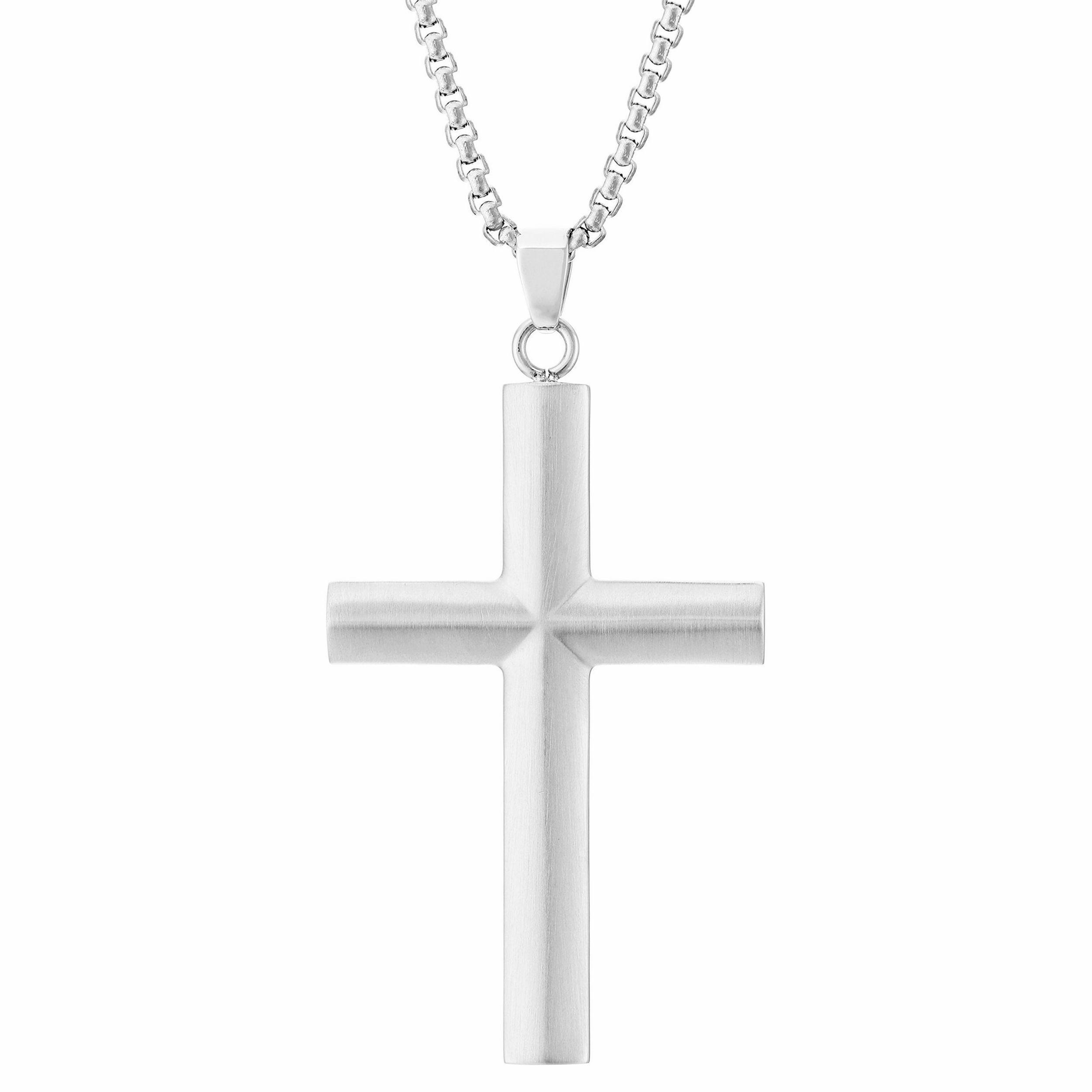 09ebd0892f6 Stainless Steel Men s Cross Pendant Necklace (Silvertone)