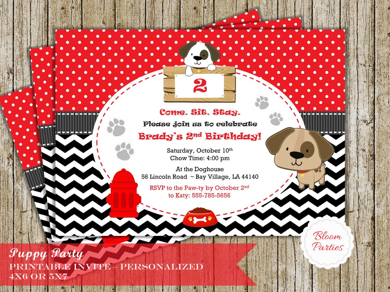 Puppy Party Invitation for Puppy Birthday Party Dog Party Boy or Girl Black Chevron Red Digital Printable Invite by BloomParties on Etsy https://www.etsy.com/listing/260740430/puppy-party-invitation-for-puppy