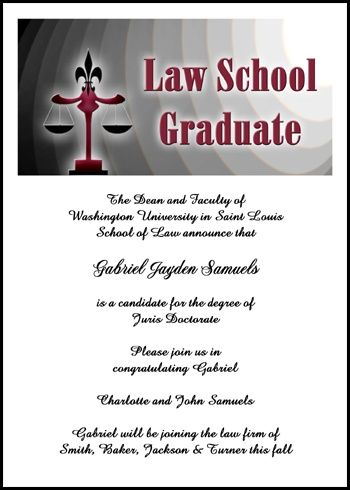 Add Your Graduate Picture To Your Scales Of Justice Graduation - Graduation commencement invitation