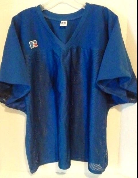 Football RUSSELL Practice Jersey over pads XL see measurements Blue Mesh #Russell #Meshoverthepadsjersey