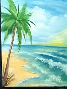 image result for beginner acrylic paintings beach scene painting
