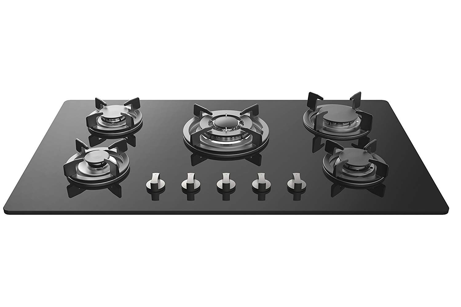 Black Empava 34XGC5L90A 34 Inch Tempered Glass Gas Professional 5 Italy Sabaf Burners Stove Top Certified with Thermocouple Protection Cooktops