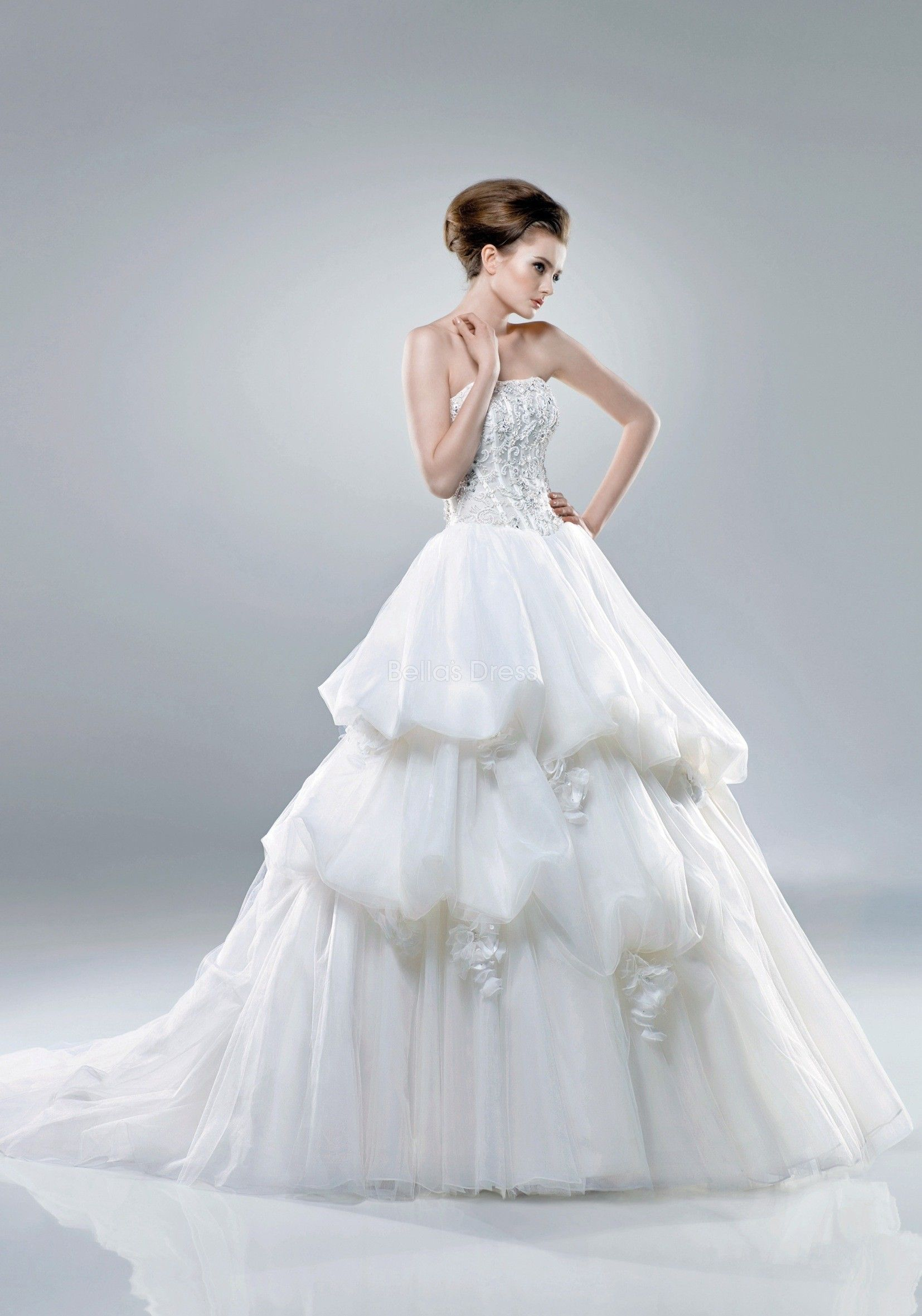 Romantic matte organza princess strapless chapel train winter